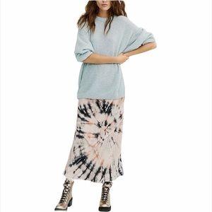 Free People Serious Swagger Velvet Tie-Dye Skirt S
